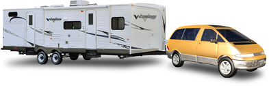 Mini-van towing a new light-weight V-Cross travel trailer